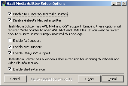 Haali Media Splitter Setup